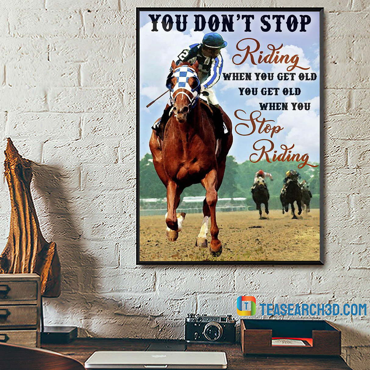 Horse racing you don't stop riding when you get old canvas medium