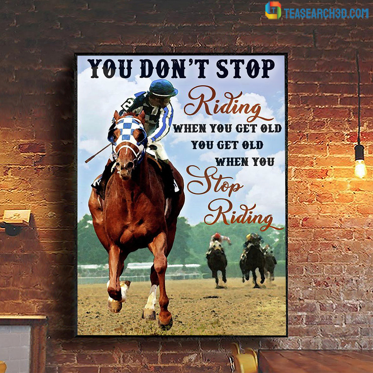 Horse racing you don't stop riding when you get old canvas small