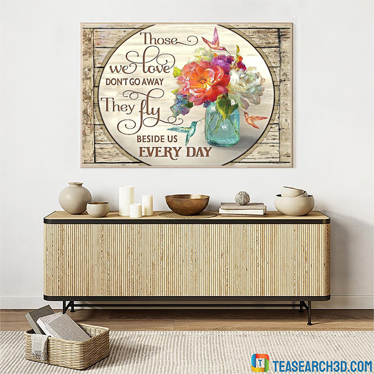 Hummingbird flowers those we love don't go away canvas 1