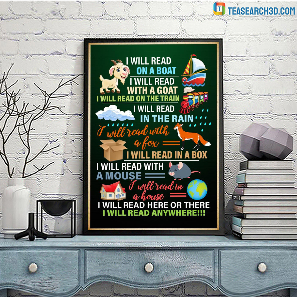 I will read on a boat I will read with a goat poster A1