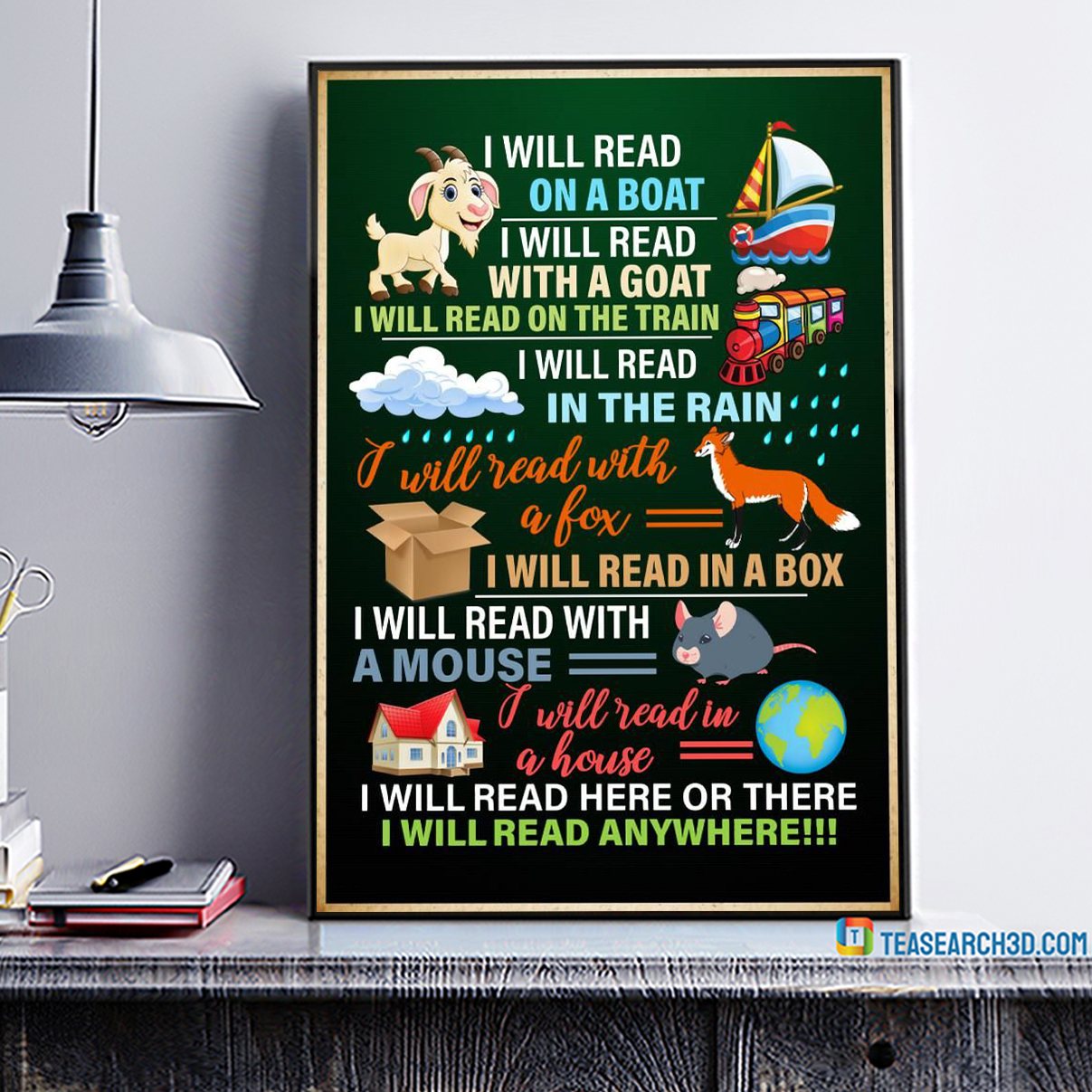 I will read on a boat I will read with a goat poster A2