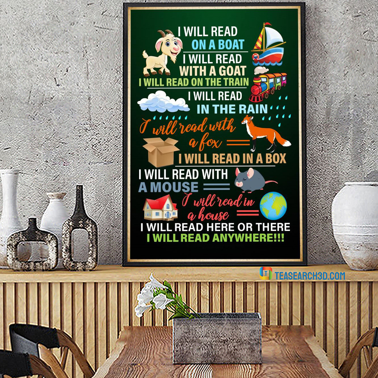 I will read on a boat I will read with a goat poster A3