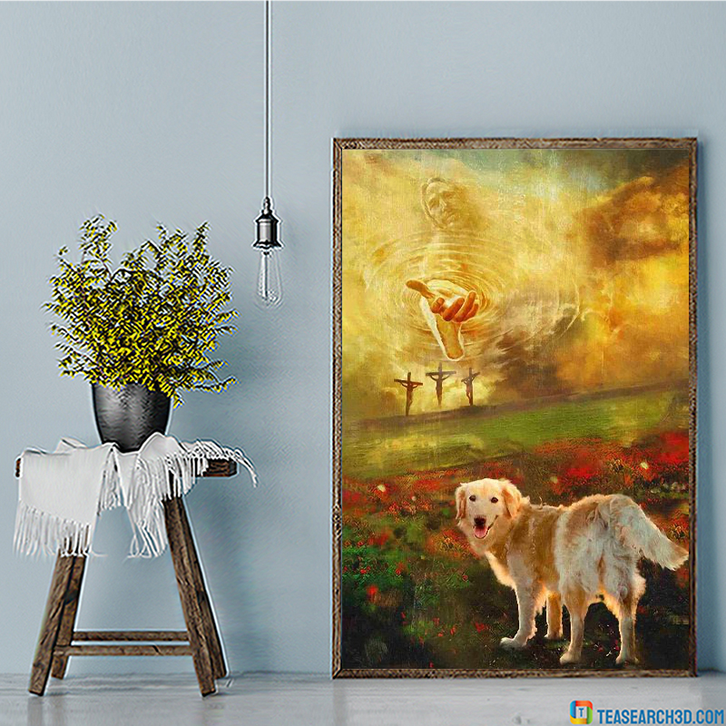 Jesus and golden retriever to the beautiful world canvas large