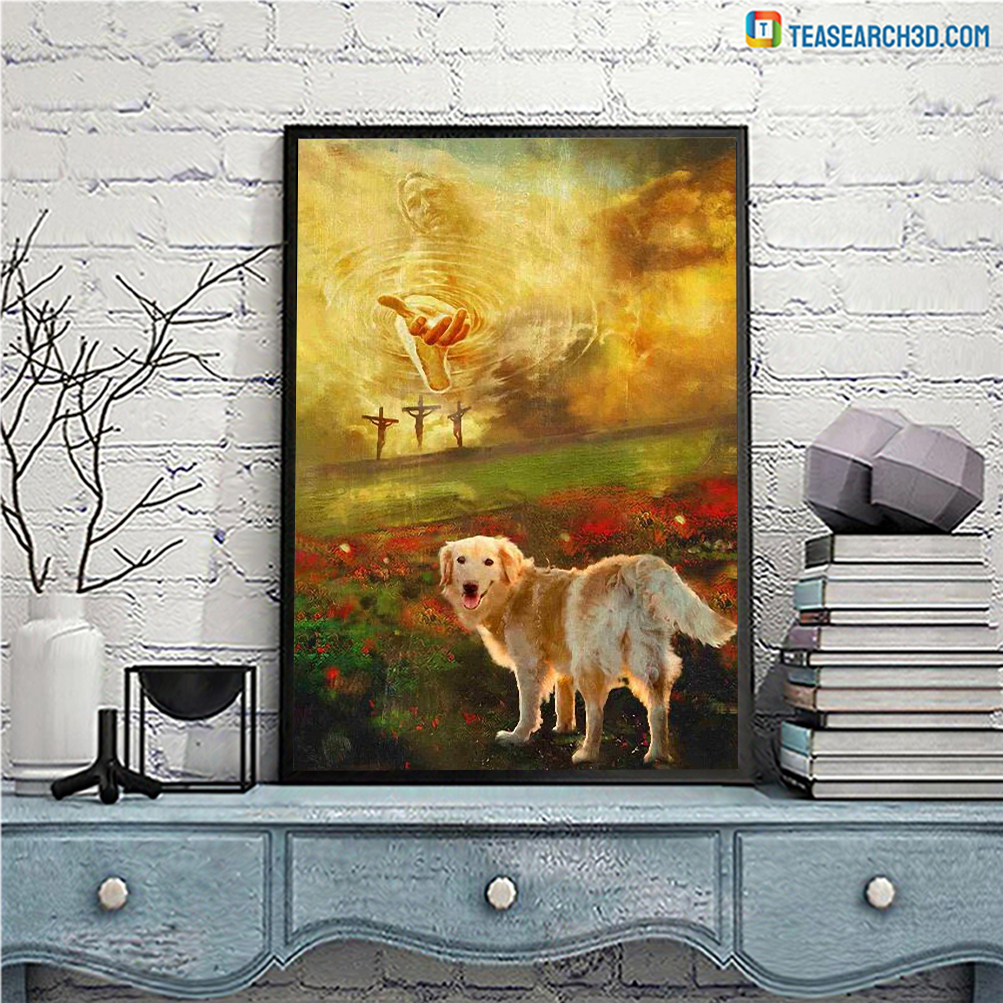 Jesus and golden retriever to the beautiful world canvas