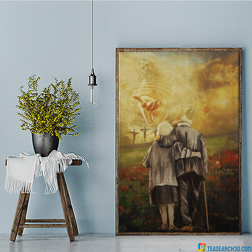 Jesus and old couple to the beautiful world canvas large