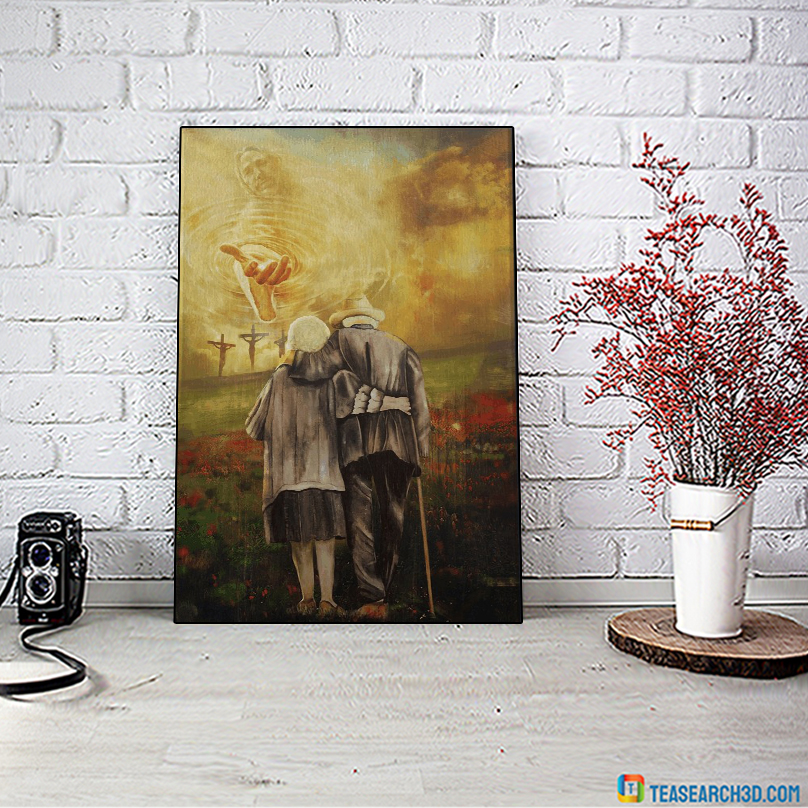 Jesus and old couple to the beautiful world canvas medium