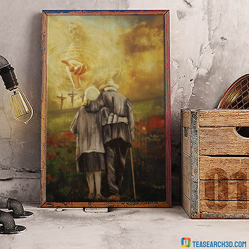 Jesus and old couple to the beautiful world canvas small