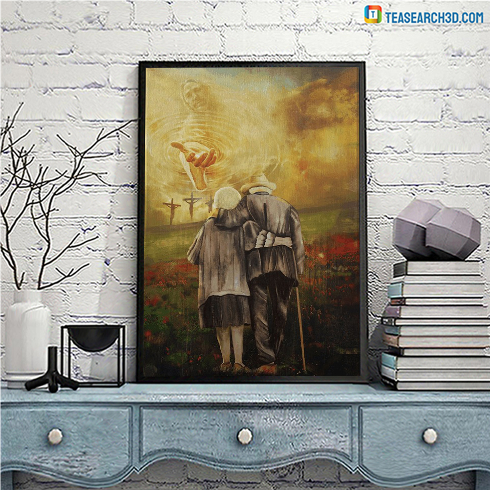 Jesus and old couple to the beautiful world canvas