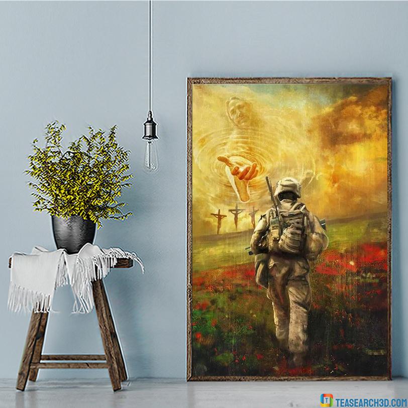Jesus and veteran run to the beautiful world canvas large