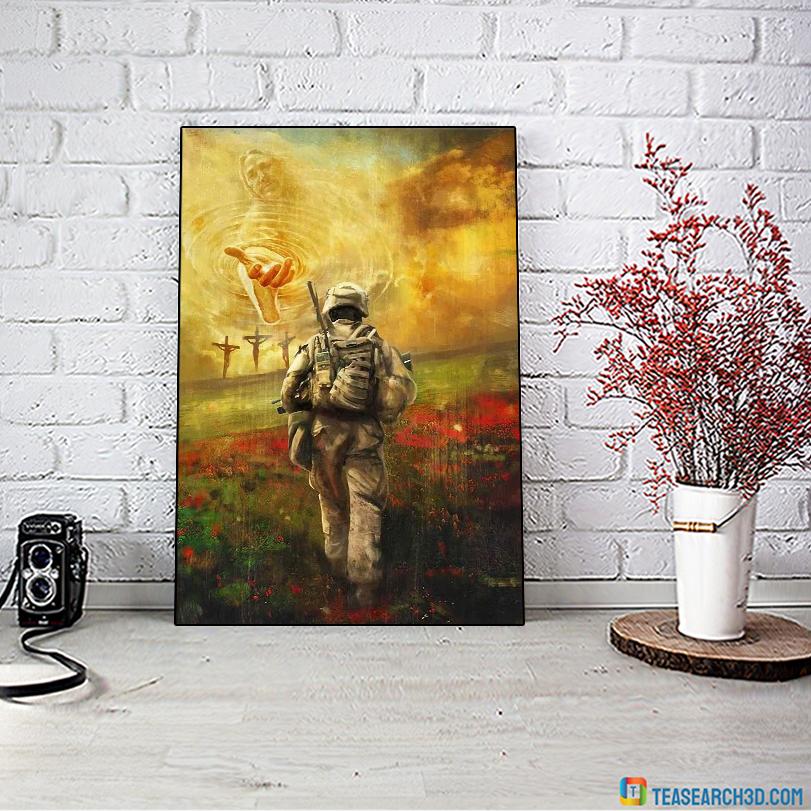 Jesus and veteran run to the beautiful world canvas medium