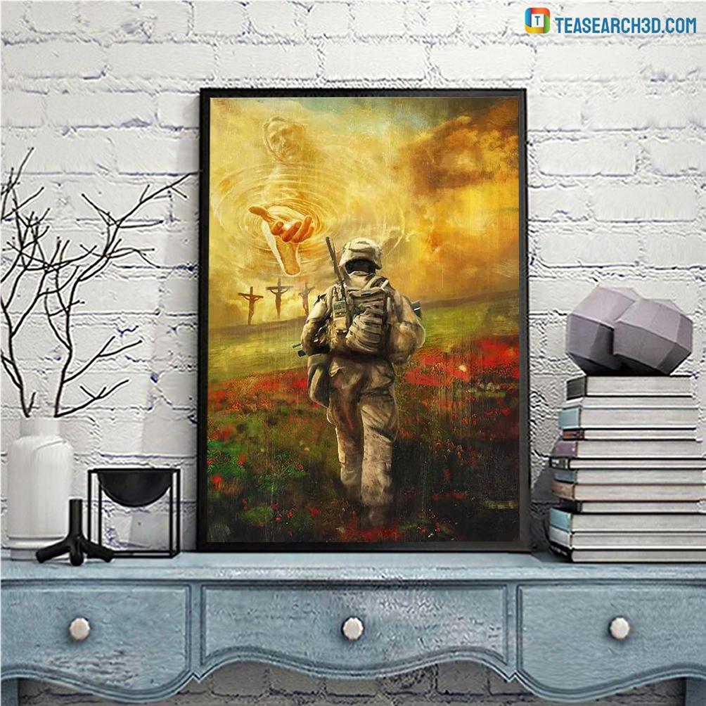 Jesus and veteran run to the beautiful world canvas