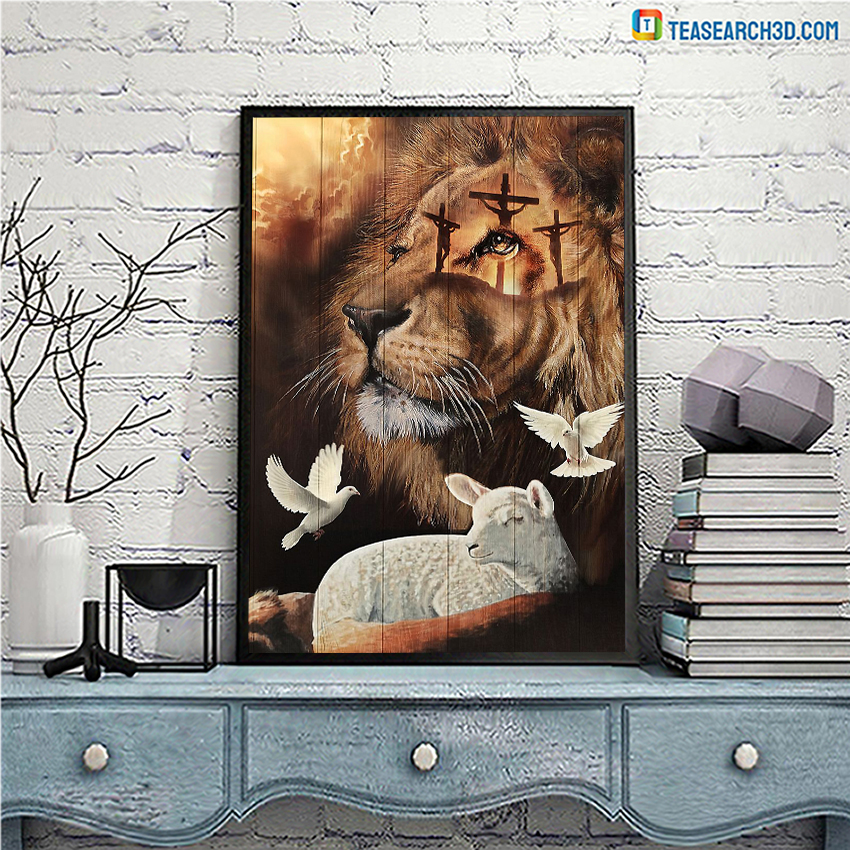 Jesus lion lamp and dove poster