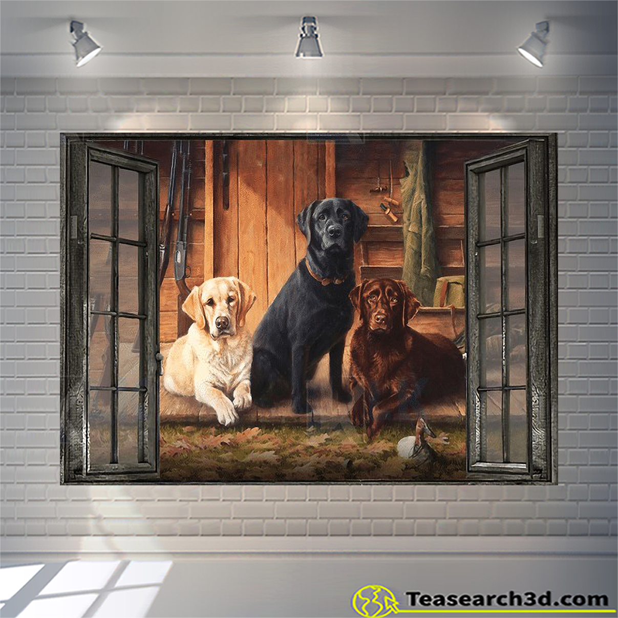 Labrador by the window canvas medium