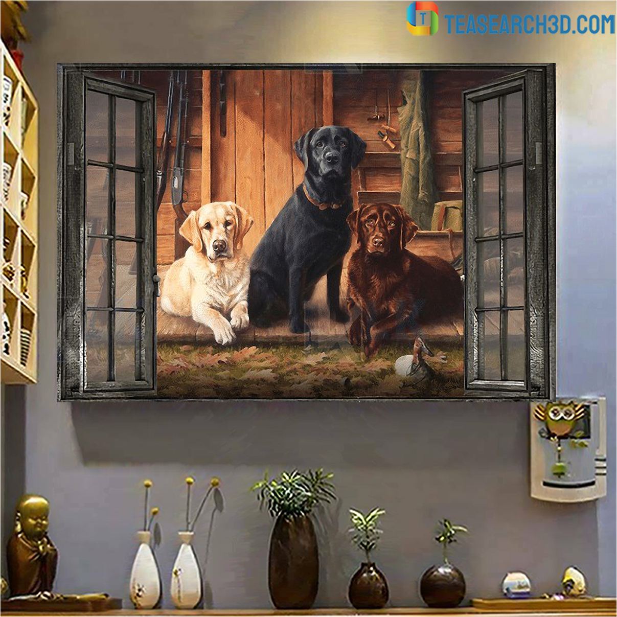 Labrador by the window canvas small