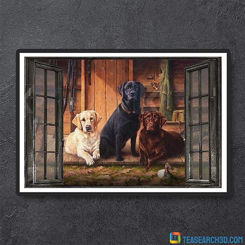Labrador window view canvas small