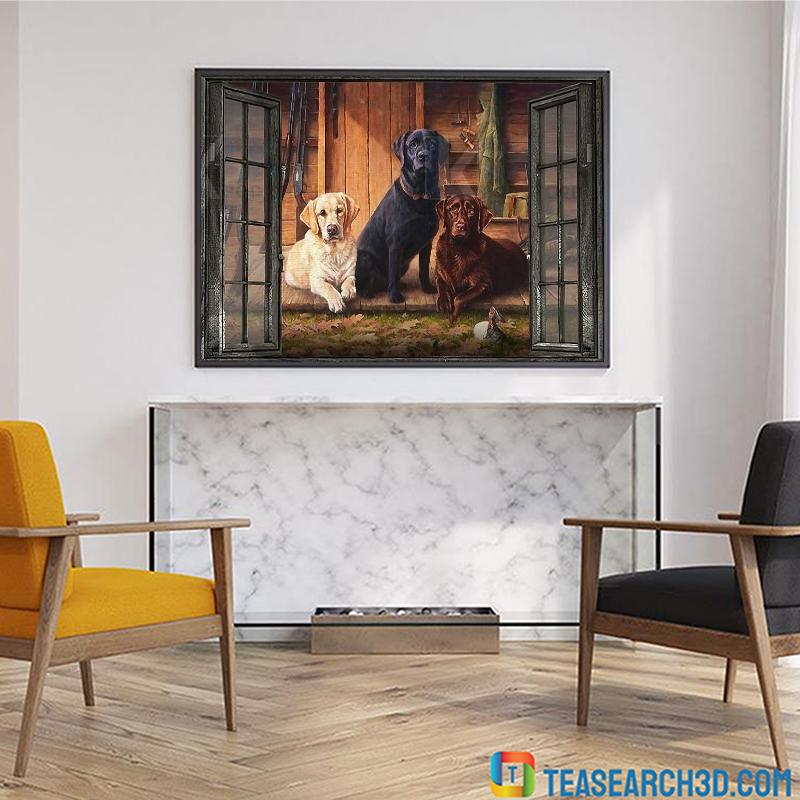 Labrador window view canvas