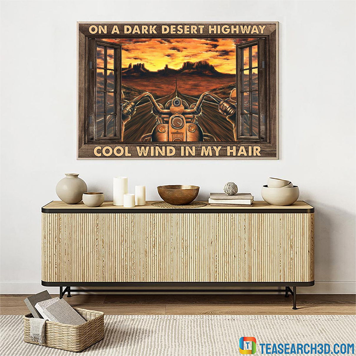 Motorcycle on a dark desert highway cool wind in my hair window poster A3