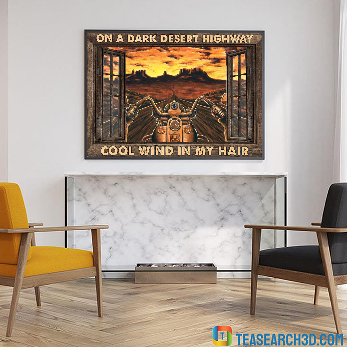 Motorcycle on a dark desert highway cool wind in my hair window poster A4