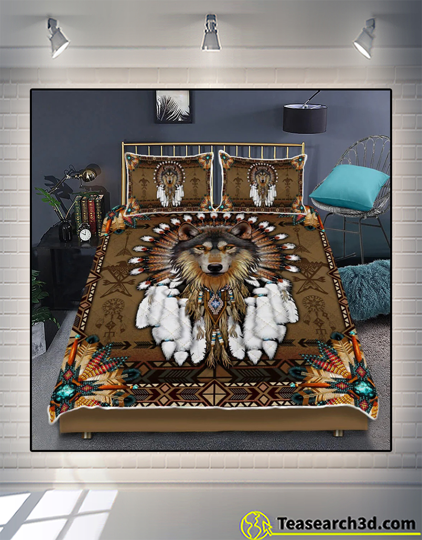 Native american wolf spirit quilt bed set 2