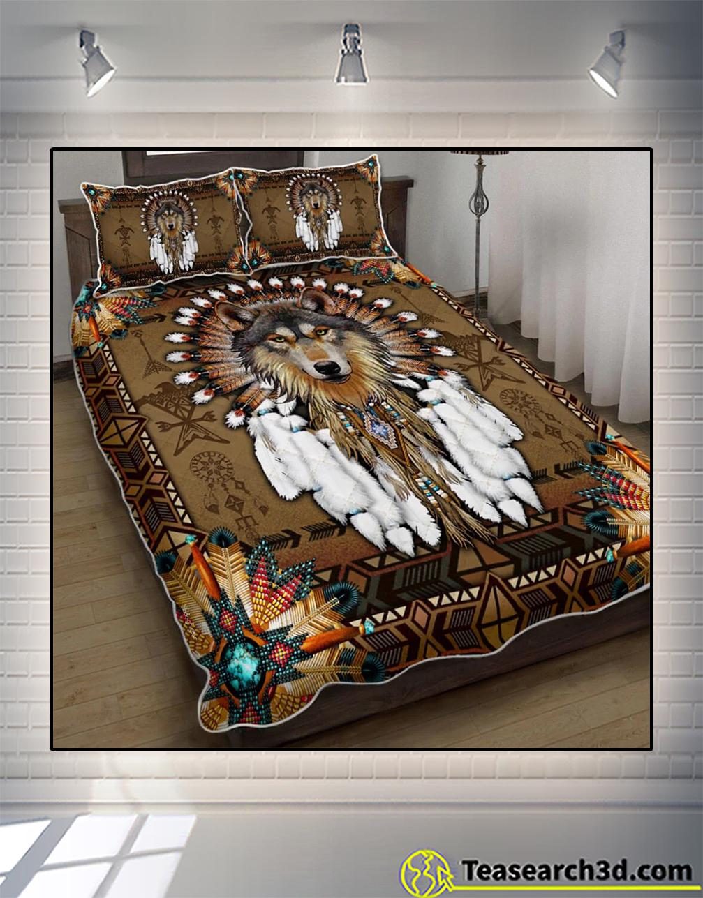 Native american wolf spirit quilt bed set