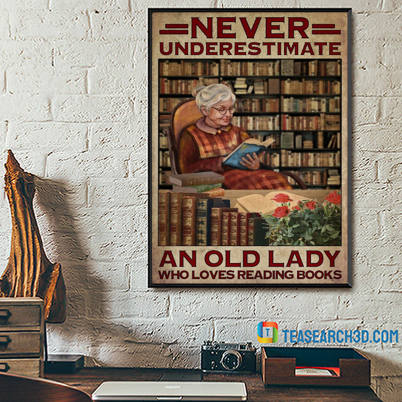 Never underestimate old lady who loves reading books poster A2