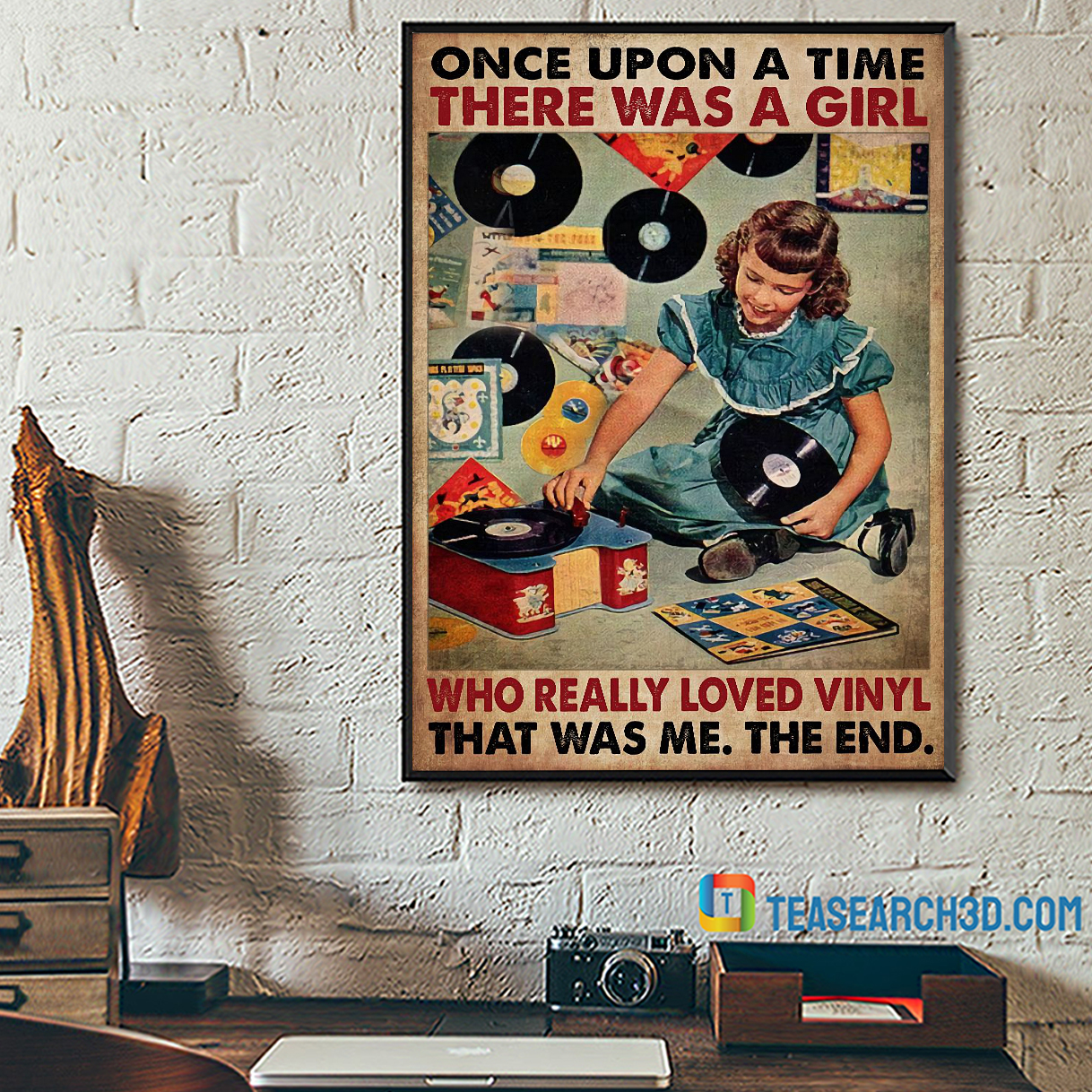 Once upon a time there was a girl who really loved vinyl poster A2