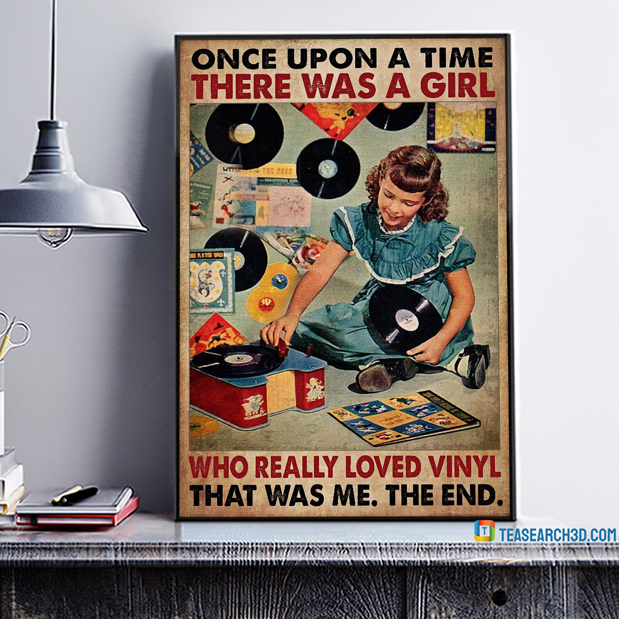 Once upon a time there was a girl who really loved vinyl poster A4