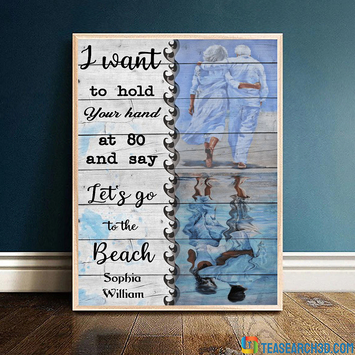 Personalized custom let's go to the beach couples canvas