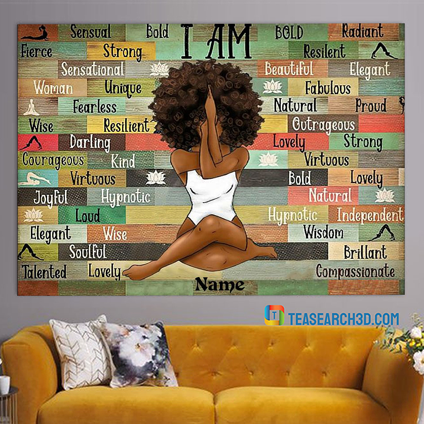 Personalized custom name black girl I am queen poster A1