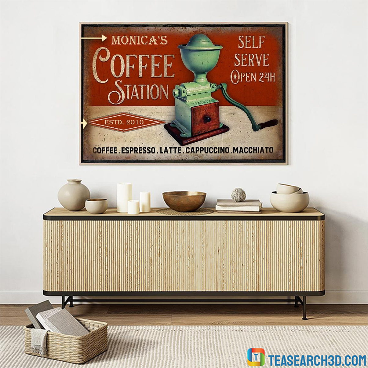 Personalized custom name coffee station self serve poster A1
