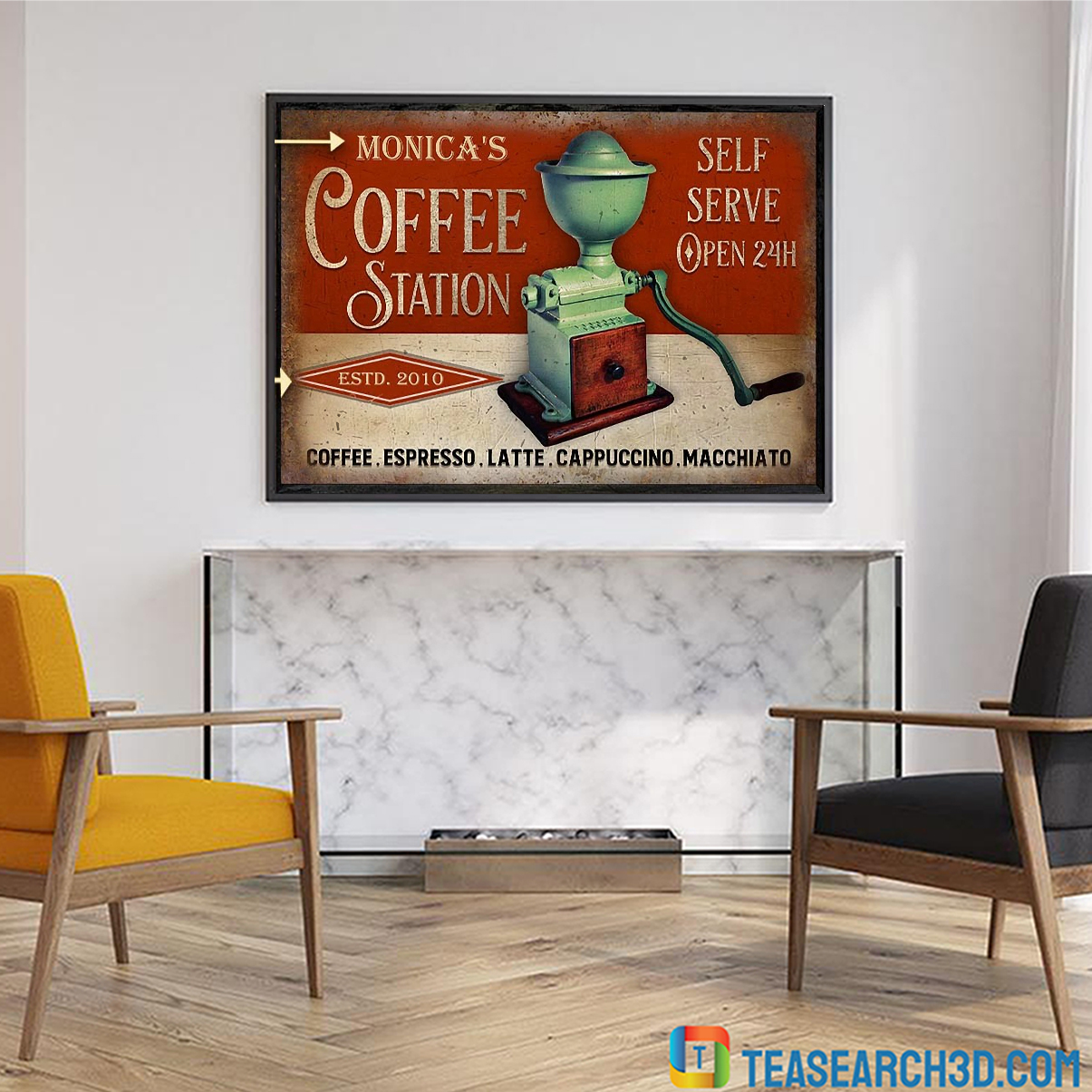 Personalized custom name coffee station self serve poster A2