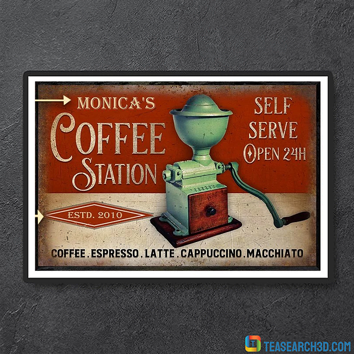 Personalized custom name coffee station self serve poster A3