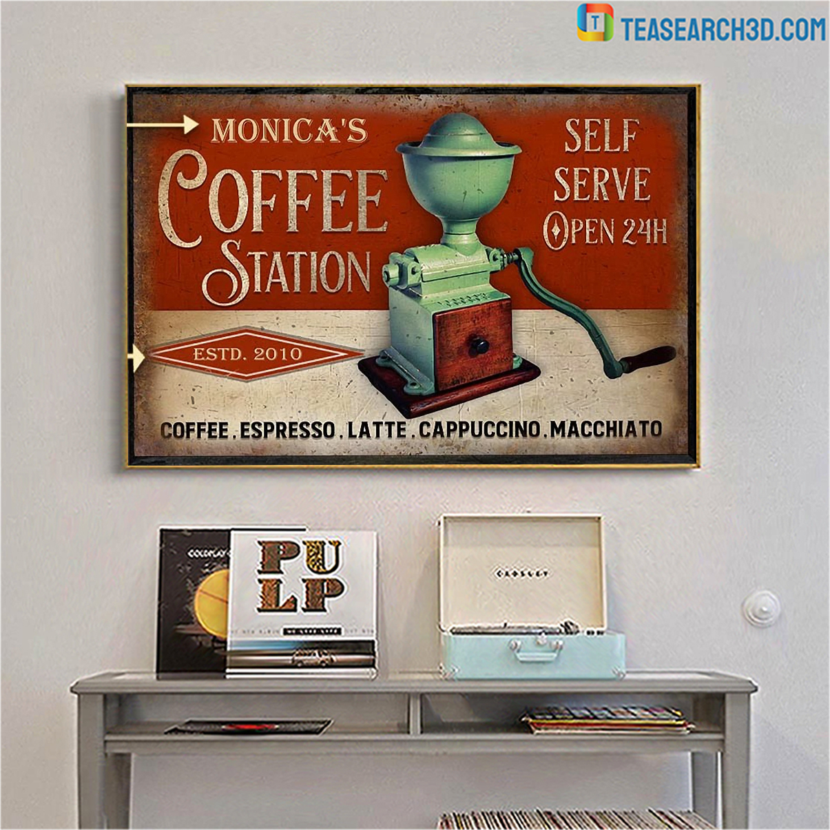 Personalized custom name coffee station self serve poster A4