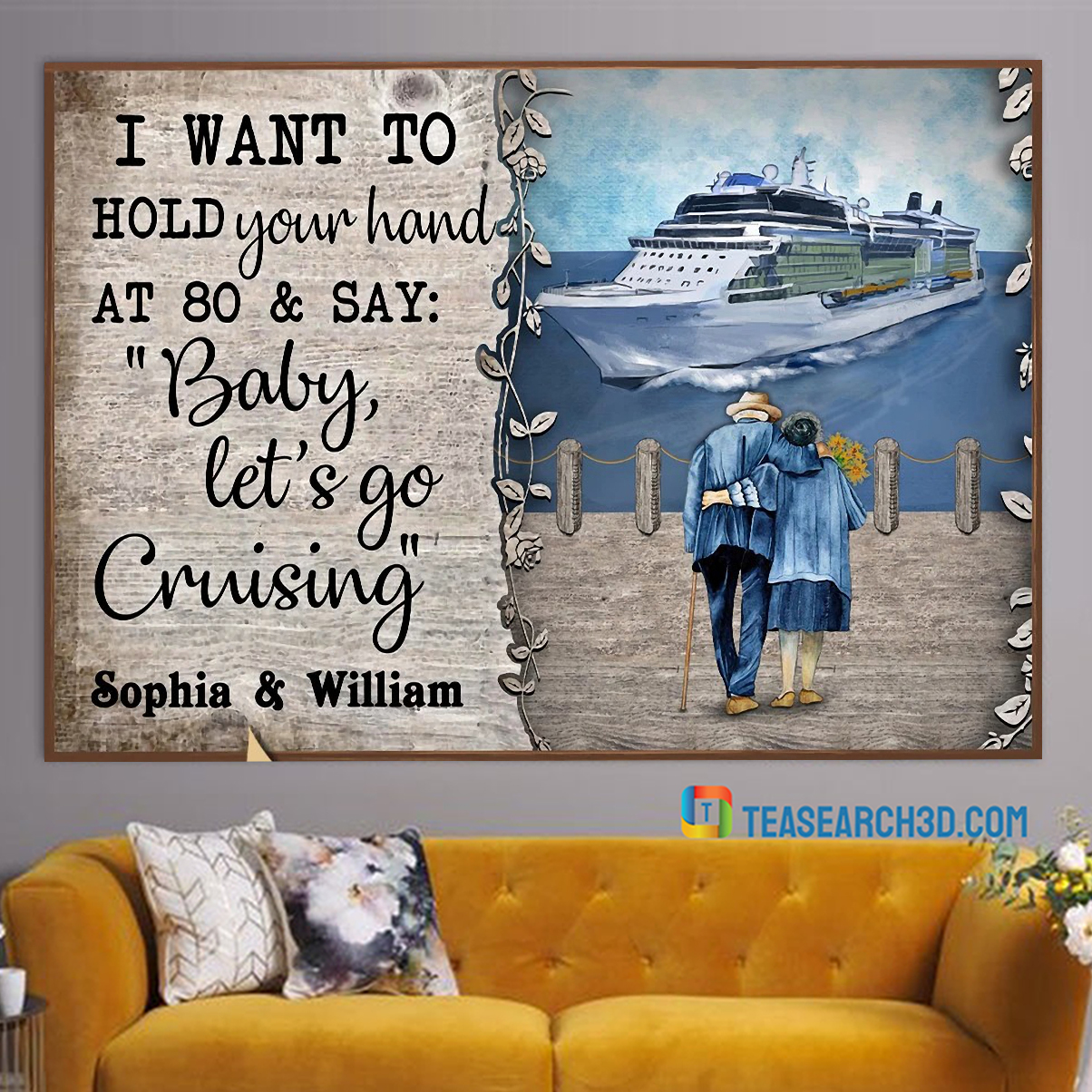 Personalized custom name cruising harbor baby let's go poster A3