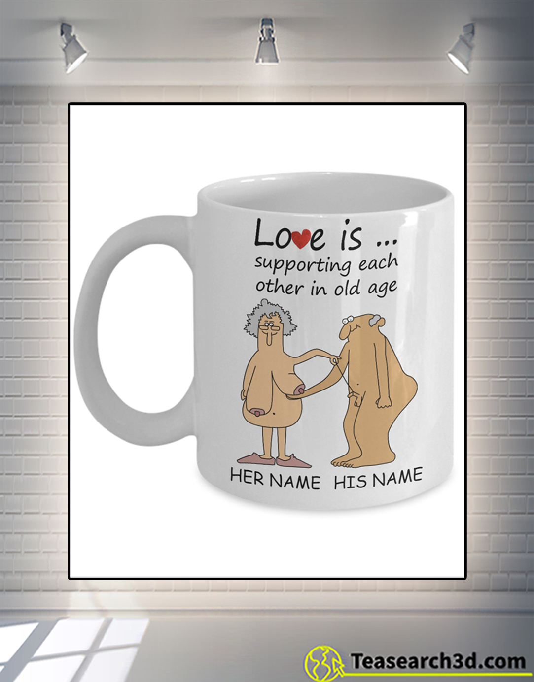 Personalized custom name love is supporting each other in old age mug 15oz