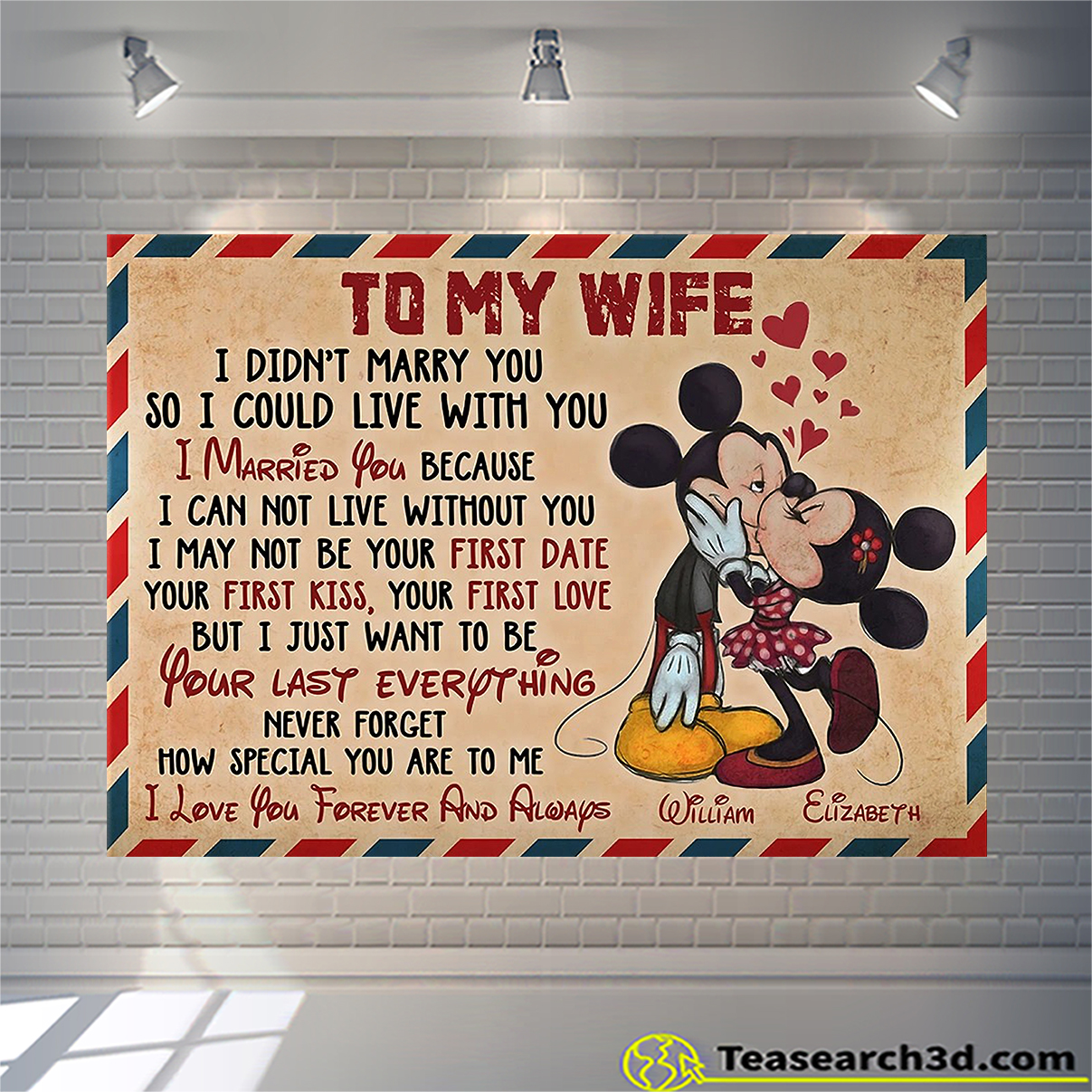 Personalized custom name mickey to my wife how special you are to me canvas large
