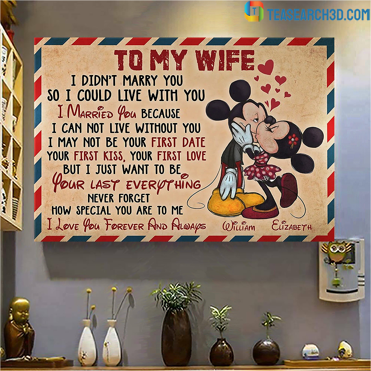 Personalized custom name mickey to my wife how special you are to me canvas medium