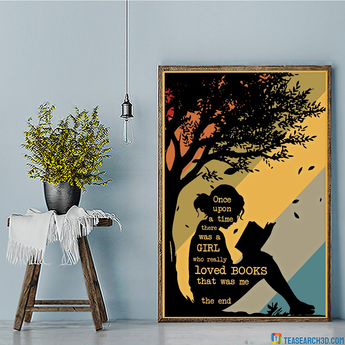 Personalized custom name once upon a time there was a girl who really loved books poster A1