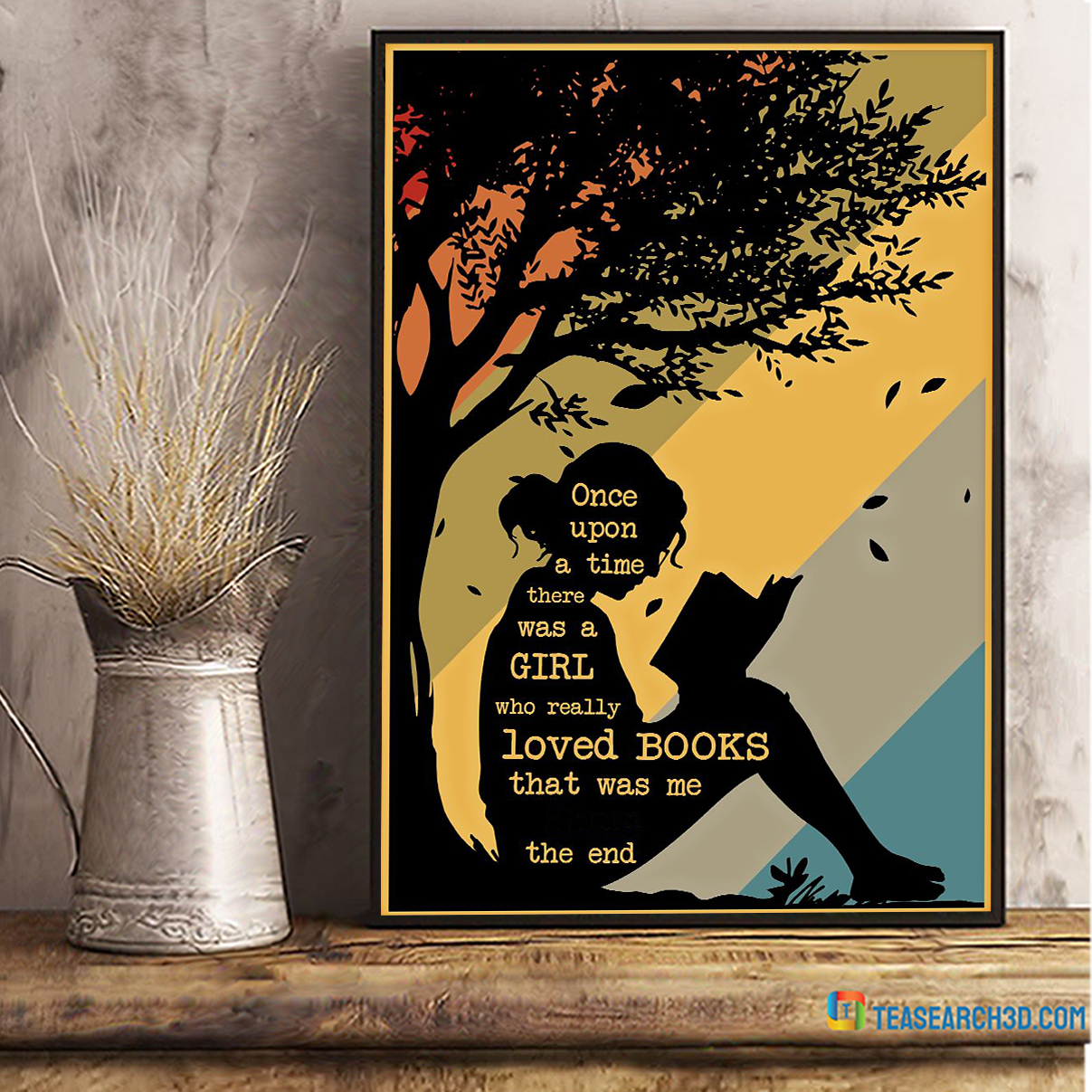 Personalized custom name once upon a time there was a girl who really loved books poster A2