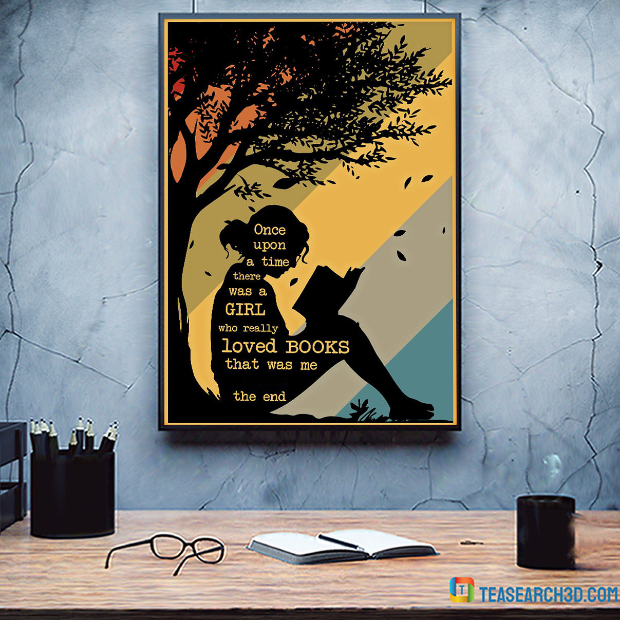 Personalized custom name once upon a time there was a girl who really loved books poster A3