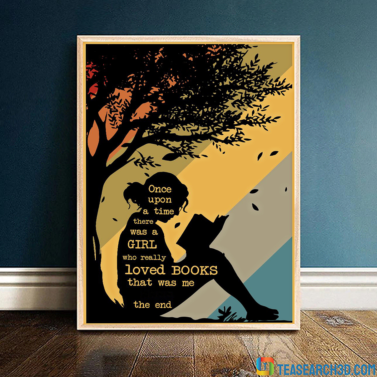 Personalized custom name once upon a time there was a girl who really loved books poster A4