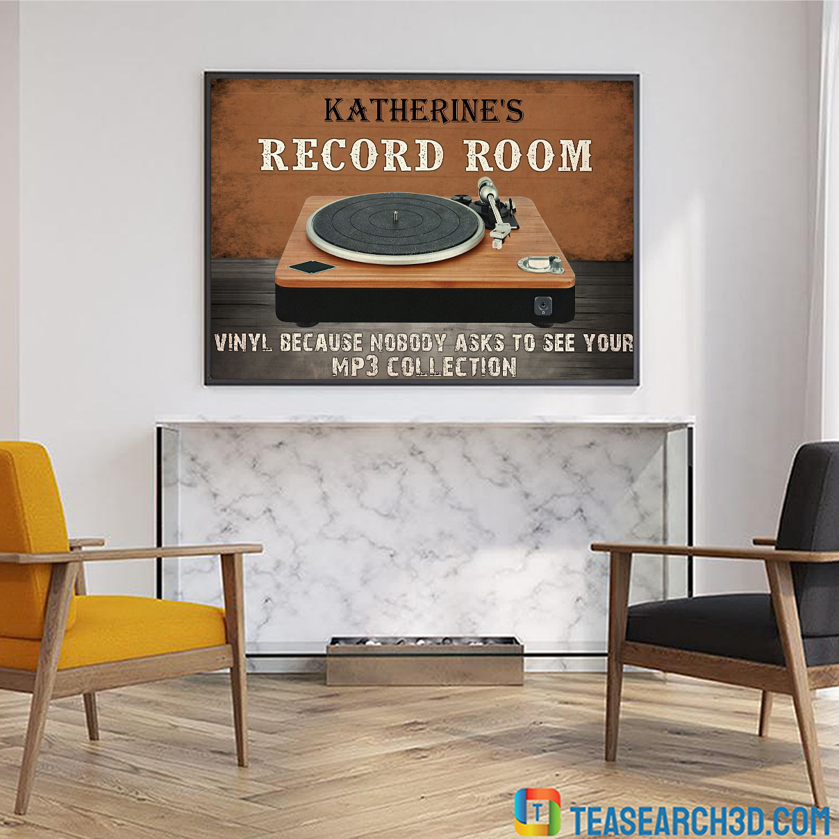 Personalized custom name record room vinyl because nobody asks to see poster A4