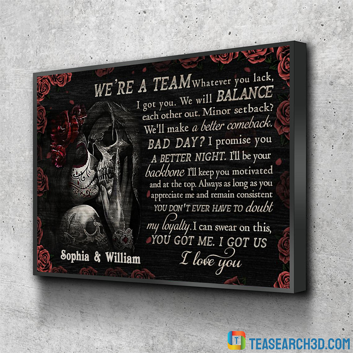Personalized custom name skull rose we're team poster A2