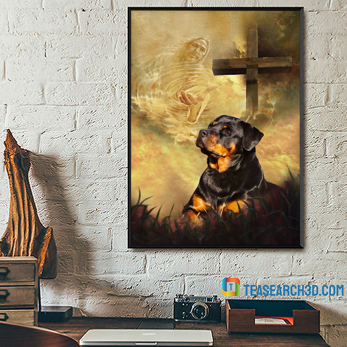 Rottweiler take my hand Jesus poster A2
