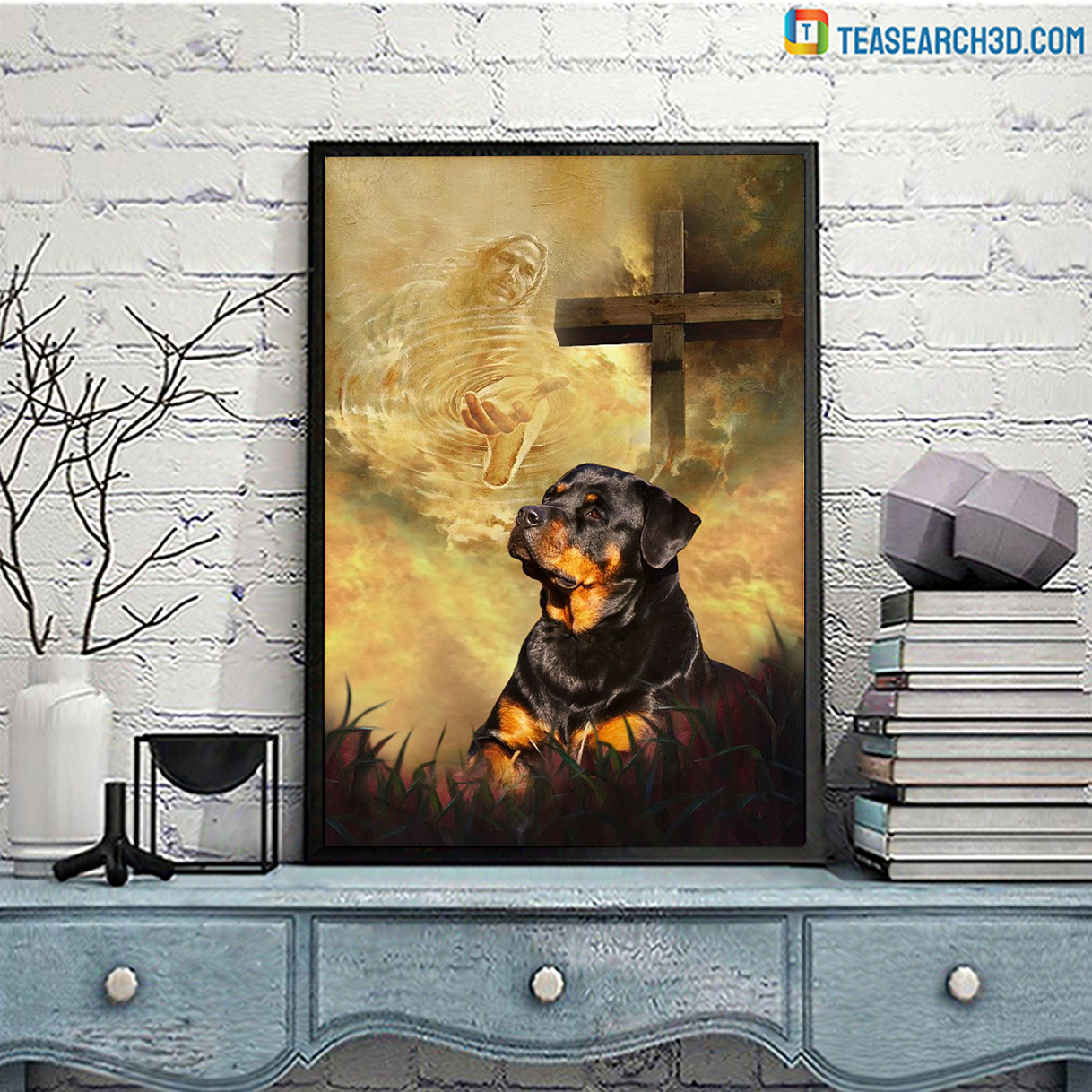 Rottweiler take my hand Jesus poster A3