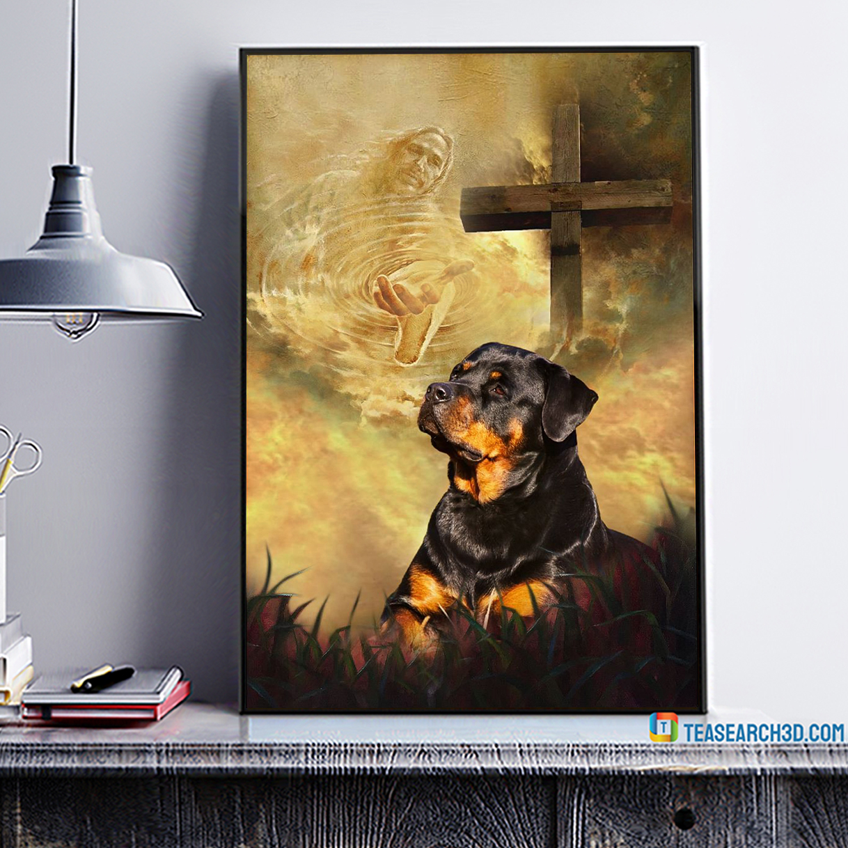Rottweiler take my hand Jesus poster A4