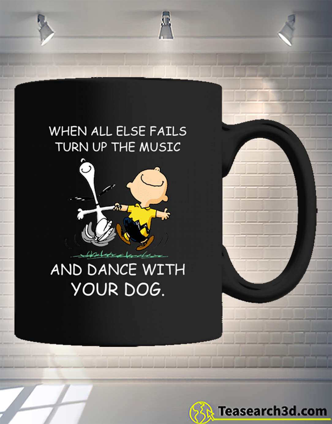 Snoopy and charlie brown when all else fails turn up the music mug 15oz