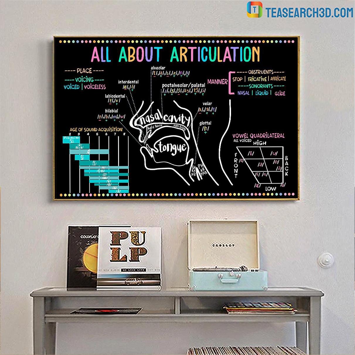 Speech language pathologist all about articulation poster A3