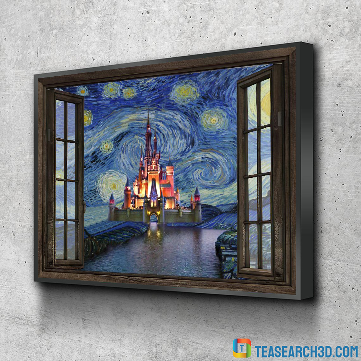 Disney Cinderella castle starry night van gogh window canvas