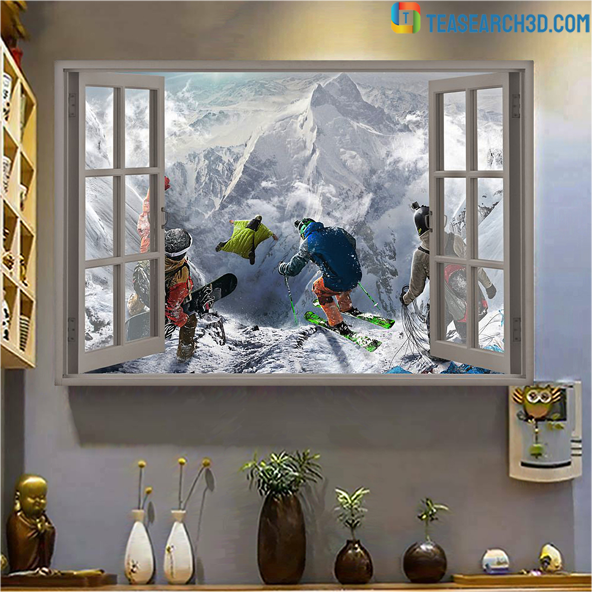 Winter sports window view poster A1